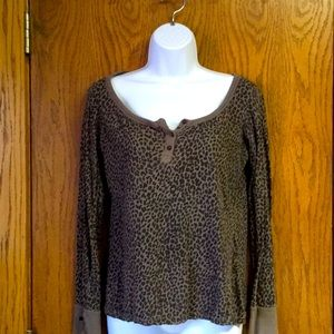 Cheetah Print Henley Thermal T-shirt